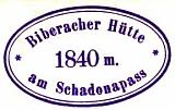 Biberacher Hütte, Hüttenstempel