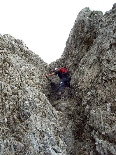 Udo Räther in der letzten Kletterpassage der Hochgehrenspitze