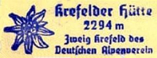 Krefelder Hütte, Hüttenstempel