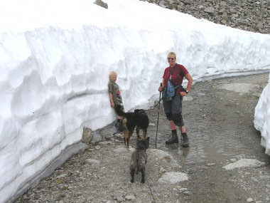 Kurz vor der Huette gab es doch noch reichlich Schnee.