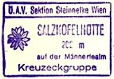 Sazkofelhütte, Hüttenstempel