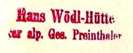 Wödlhütte, Hüttenstempel