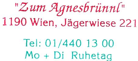 Zum Agnesbrünnl - Jägerwiese/Hermannskogel/Wien